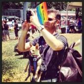 A man and his dog at the Sacramento Pride Festival