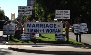 Marriage = 1 man + 1 Woman protesters against marriage equality at State Capitol