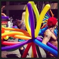 Rainbow balloon backpack