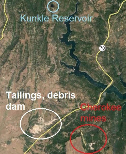 General locations of Cherokee mines, ditches and debris dams.