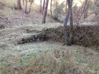Rock retaining wall at Zantgraf Mine ruins