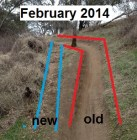 The beginning of new trail being cut by mountain bikes at Folsom Lake.