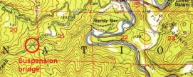 1952 USGS topo map showing location of suspension bridge and water pipe to hydraulic mine fields in Salyer, CA.