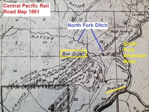 Central Pacific Rail Road map, 1861, showing Rose Springs near American River.