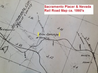 Sacramento, Placer & Nevada Rail Road map (ca. 1860's) showing Rose Springs.