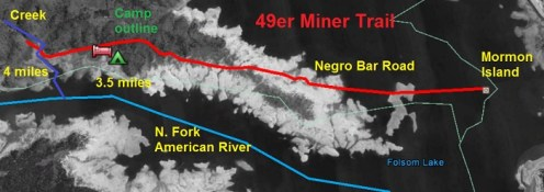 Approximate path of 49er gold rush miner up the east side of the north fork of the American River. Tent and bed icons are where I found campsite outline and mound of rock that looks like a burial mound.