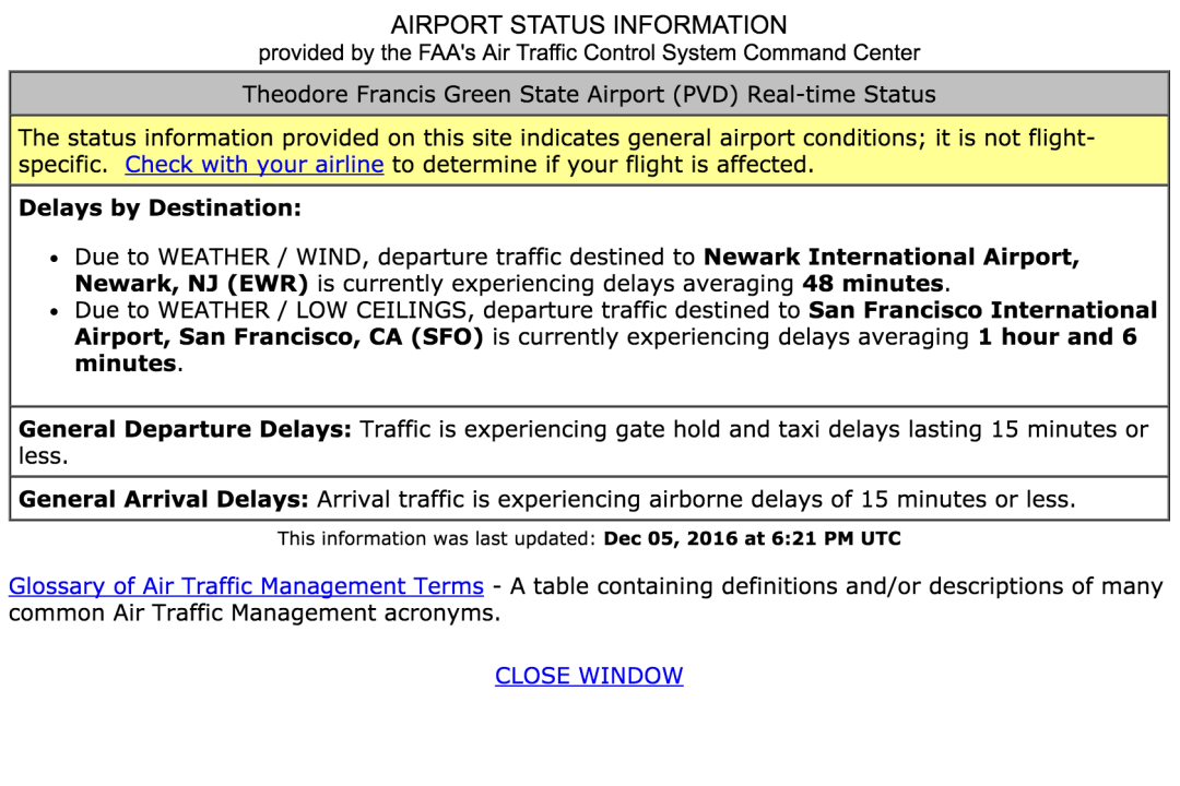 Example: Airport status provided by the FAA.
