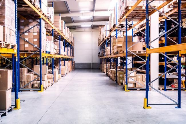 An interior of a warehouse.
