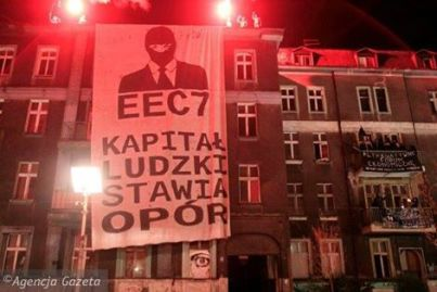 Banner at the AntiCongress squat in Katowice