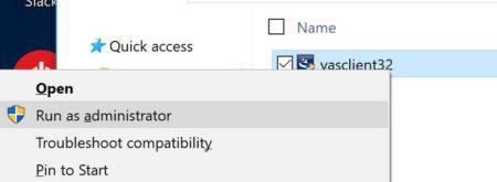 Right Click to Run As Admin screenshot