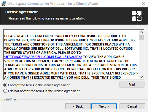 Snap for License Agreement when installing Virtual Desktop on Windows PC