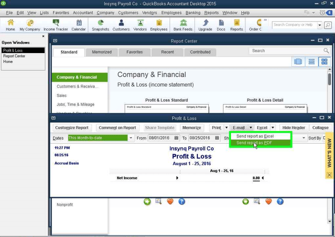 QuickBooks Email: Sending a Report screenshot