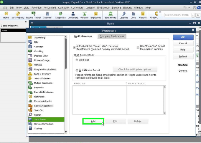 QuickBooks Email: Configuring the Account screenshot