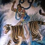 Приковывающая внимание настенная фреска, изображен мужчина верхом на тигре, находится в храме Matsu