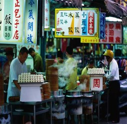 Вечерний базар, ларки с национальной едой