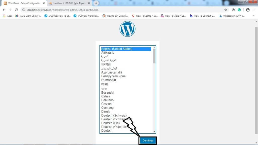 how to install wordpress local select launguage and install