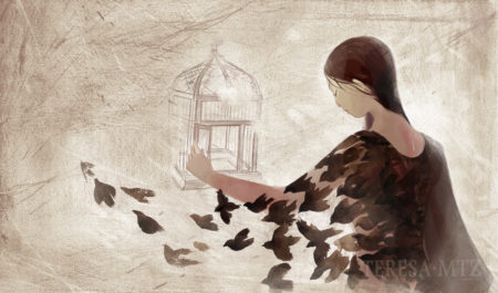 mujer abre jaula