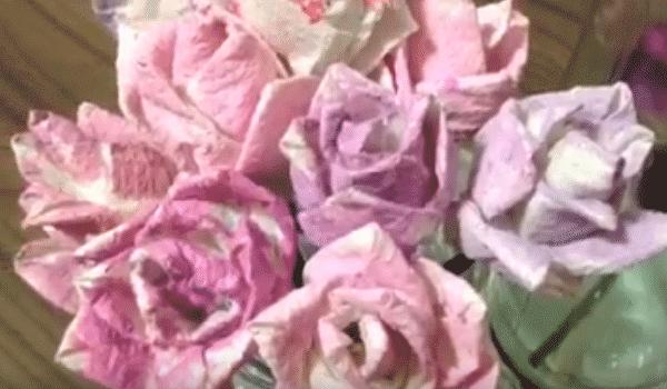 Flores de papel toalha