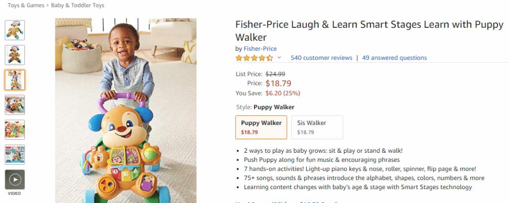 Andador cachorrinho Fisher-price importado