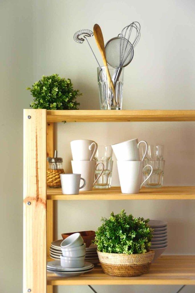 decoração de cozinha com prateleiras 30