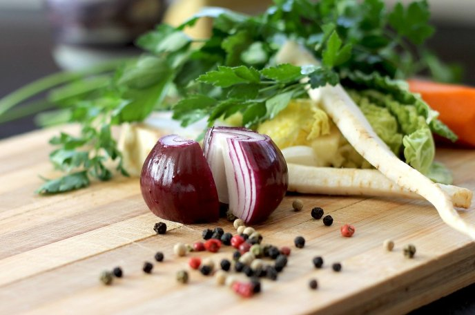 Onions, and red onions in particular. Onions are a good source of quercetin. Quercetin may prove beneficial to preventing and reducing symptoms of COVID-19 infection. Onions may be a potential immune booster against COVID-19.