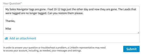LinkedIn Trouble Ticket