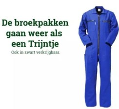 The overalls are flying out of the shop like a train (because Trijntje sound a bit like treintje, little train. The small letters say, 'Also available in black'.