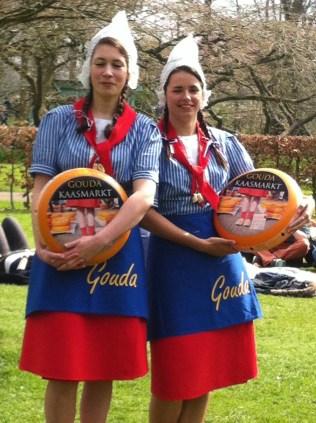 Dutch girls with Gouda cheese