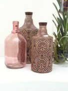 Brown textured and glass bottles