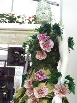 Orchid and feather dress design