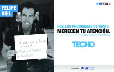El actor Felipe Viel apoyando la campaña de recaudación de TECHO-US.