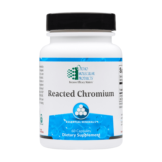 Chromium is a trace mineral essential to human health. Reacted Chromium includes 200 mcg per serving of chromium, ideally formulated using the superior chromium polynicotinate (niacin-bound) form for enhanced absorption and superior function. Chromium maintains healthy insulin balance, supports blood sugar balance already within normal levels, and supports appetite control. Chromium Uses:  Provides Highly Absorbed Chromium for a Variety of Protocols Supports Blood Sugar Balance Already Within Normal Levels Maintains Healthy Insulin Balance