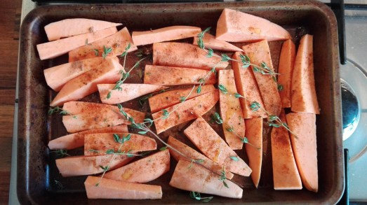 sweet potato fries prepped