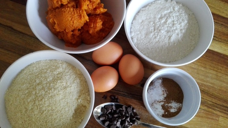 Choc chip and pumpkin bread ingredients