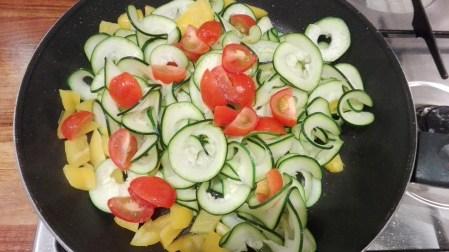 Zucchini Linguine & basil pesto cooking