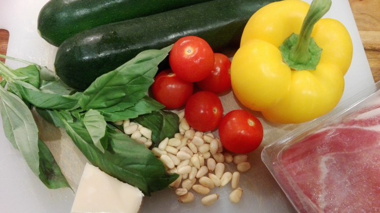 Zucchini Linguine & basil pesto ingredients