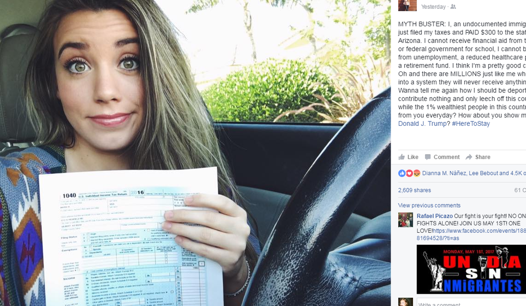 ASU 'dreamer's' post on paying taxes goes viral