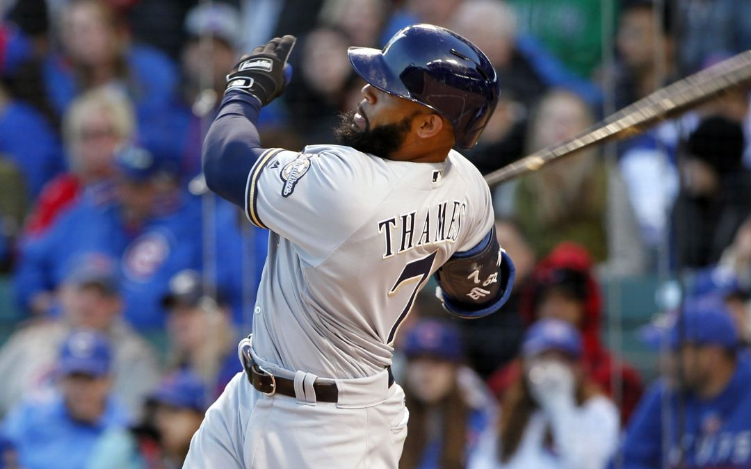 Former Korean star Eric Thames homers in 5 straight for Brewers