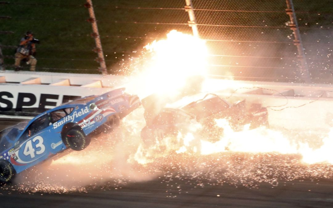 NASCAR driver Aric Almirola airlifted to hospital after fiery crash at Kansas