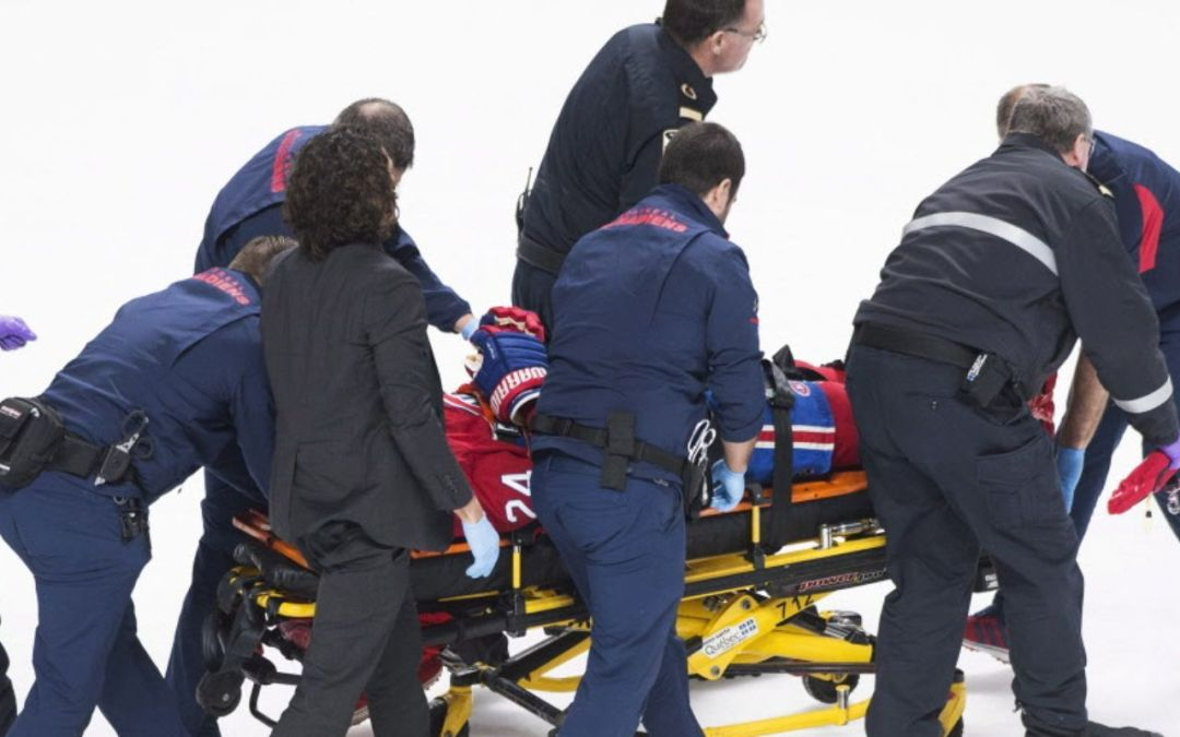 Montreal Canadiens' Phillip Danault hit in head with puck on slapshot