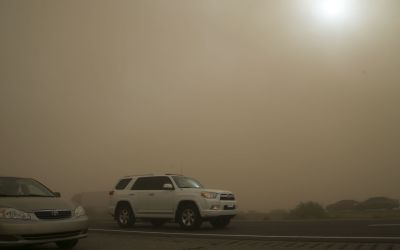Winds drive blowing dust in deserts, while snow hits N. Arizona