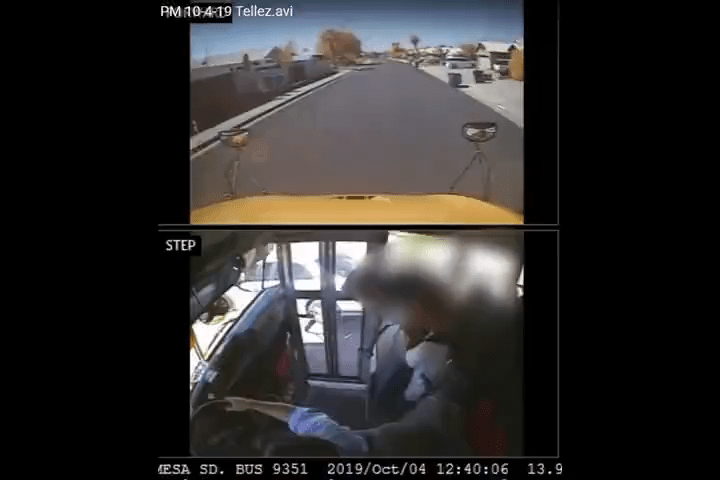 Security footage: Mesa school bus driver faces charges of reckless driving