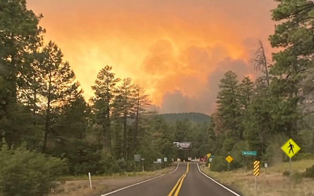 Backbone Fire burns near Strawberry, Arizona within Gila County