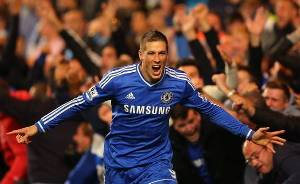 Fernando Torres of Chelsea celebrates scoring their second goal during the Barclays Premier League match between Chelsea and Manchester City