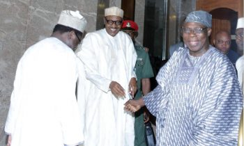 L-R; SCOP Ambassador Lawal kazaure, President Muhammadu buhari and the Former President Olusegun Obasanjo after his meeting at the State House in Abuja.