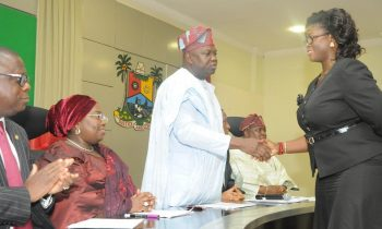 agos State Governor, Mr. Akinwunmi Ambode (3rd left), congratulating Princess Abiodun Elegushi (right), after being sworn in as Sole Administrator of Eti-Osa Local Government during the swearing-in of Sole Administrators of the 20 Local Governments and 37 Local Council Development Areas in the State, at the Banquet Hall, Lagos House, Ikeja on Monday, June 13, 2016. With them are Attorney General & Commissioner for Justice, Mr. Adeniji Kazeem (left); Deputy Governor, Dr. (Mrs.) Oluranti Adebule (2nd left) and Senator Olamilekan Adeola Solomon (2nd right).
