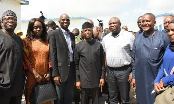 Lagos State Governor, Akinwunmi Ambode (3rd right); Minister of Solid Minerals, Dr. Kayode; Minister of Finance, Kemi Adeosun; Minister of Power, Works & Housing, Mr. Babatunde Fashola; Vice President, Prof. Yemi Osinbajo; President, Dangote Group; Alhaji Aliko Dangote and Executive Director, Tiger Brand Consumer Goods (TBCG), Halima Dangote during the Vice President's inspection visit to the Dangote Projects at the Lekki Free Trade Zone, Lagos, on Saturday