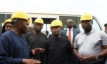 Lagos State Governor, Akinwunmi Ambode, with Vice President, Prof. Yemi Osinbajo; Minister of Solid Minerals, Dr. Kayode Fayemi; Minister of Finance, Kemi Adeosun and President, Dangote Group; Alhaji Aliko Dangote during the Vice President's inspection visit to the Dangote Refinery at the Lekki Free Trade Zone, Lagos, on Saturday