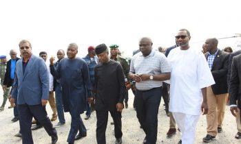 Lagos State Governor, Akinwunmi Ambode (2nd right); Chairman, Forte Oil Plc., Mr. Femi Otedola; Vice President, Prof. Yemi Osinbajo; President, Dangote Group; Alhaji Aliko Dangote and Group Executive Director, Dangote Projects, Mr. Devarcoma  Edwin during the Vice President's inspection visit to the Dangote Refinery at the Lekki Free Trade Zone, Lagos, on Saturday
