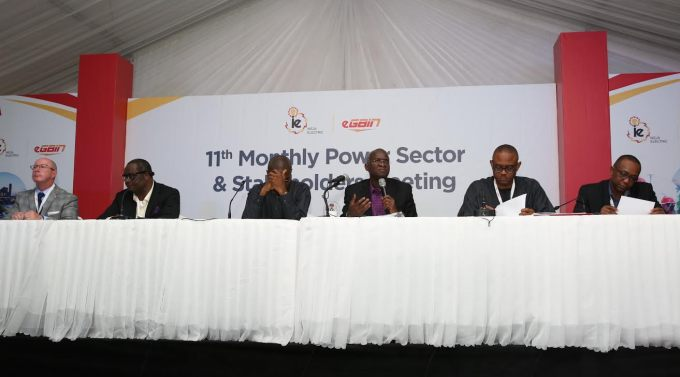 PIX TWO: Hon. Minister of Power, Works & Housing, Mr Babatunde Fashola, SAN (3rd right), Permanent Secretary ,Power ,in the Ministry, Mr Louis Edozien(3rd left), Ag. CEO, Nigerian Electricity Regulatory Commission, Dr Anthony Akah (2nd right), MD/CEO, Ikeja Electric, Dr Anthony Youdeowei (right), Chairman, Egbin Power Plc, Mr Kola Adesina (2nd left)and Managing Director/Chief Executive Officer, Egbin Power Plc, Mr Dallas Peavey Jr. (left) during the Eleventh Monthly Meeting with Sectoral Participants  in the Power Sector hosted by Ikeja DisCo and Egbin  Power Plc at the  TCN Ikeja West Transmission Station, Ayobo, Ipaja ,Lagos State